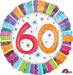 60 th Radiant Birthday Mylar Balloon