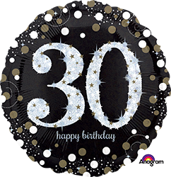 32129 30 th Sparkling Birthday Mylar Balloon