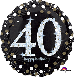 40 th Sparkling Birthday Mylar Balloon