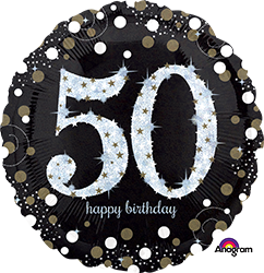 50 th Sparkling Birthday Mylar Balloon