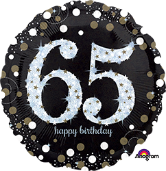 65 th Sparkling Birthday Mylar Balloon