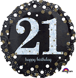 21 st Sparkling Birthday Mylar Balloon