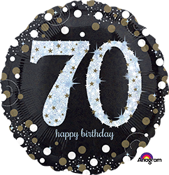 70 th Sparkling Birthday Mylar Balloon