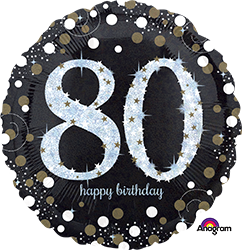 80 th Sparkling Birthday Mylar Balloon