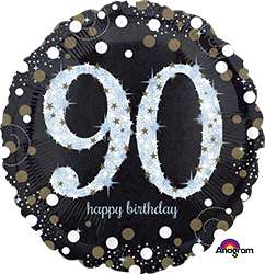 90 th Sparkling Birthday Mylar Balloon