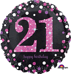 21 st Pink Celebration Mylar Balloon