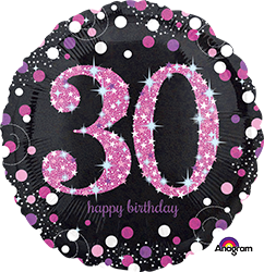 30 th Pink Celebration Mylar Balloon