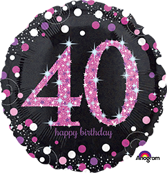 40 th Pink Celebration Mylar Balloon