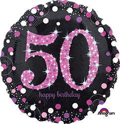 50 th Pink Celebration Mylar Balloon