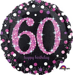 60 th Pink Celebration Mylar Balloon