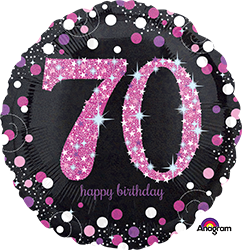 70 th Pink Celebration Mylar Balloon