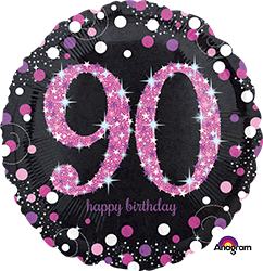 90 th Pink Celebration Mylar Balloon