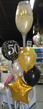 50th Balloon with Champagne Glass