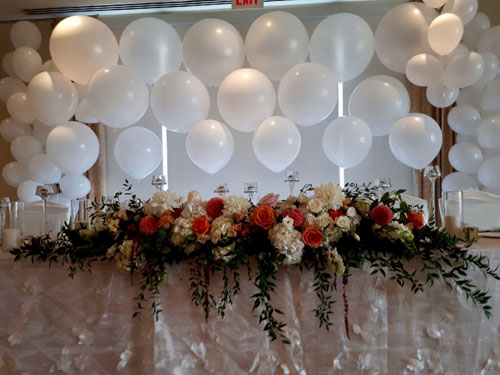 White Organic balloon Wedding Table Backdrop
