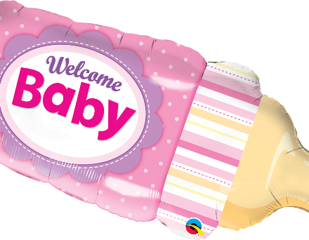 Welcome Baby Bottle Pink Mylar Balloon