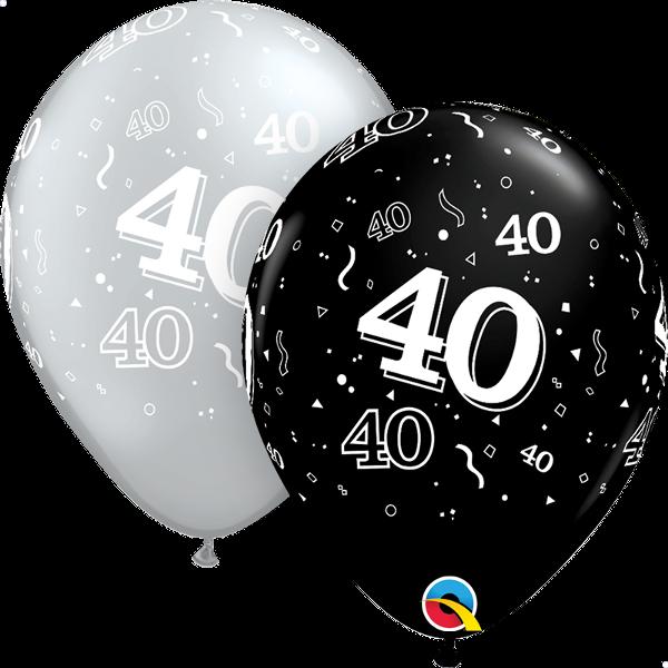 #40 Black and Silver Latex Balloon