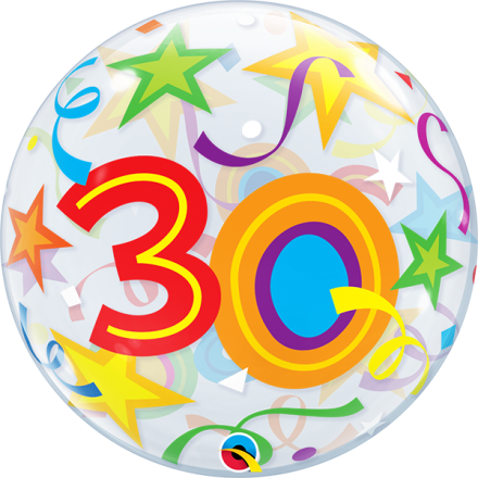 30 th Brilliant Stars Bubble Balloon