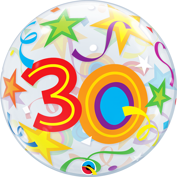 30 th Brilliant Stars Bubble Balloon