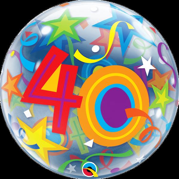 """40th Brilliant Stars 22"""" Bubble Balloon"""