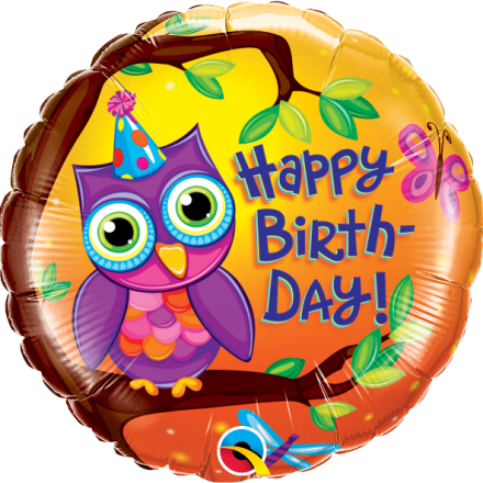Birthday Owl Mylar Balloon