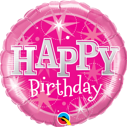 37913 Birthday Pink Sparkle mylar balloon