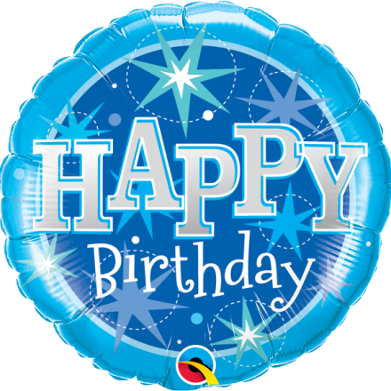 37919 Birthday Blue Sparkle mylar balloon