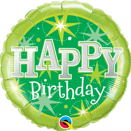 37924 Birthday Green Sparkle mylar balloon