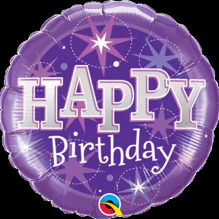 37928 Birthday Purple Sparkle mylar balloon