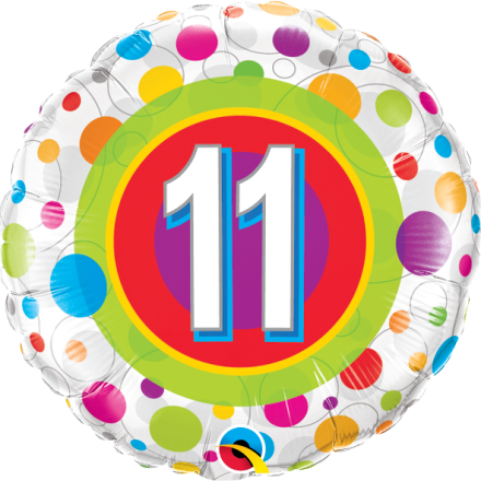 41124 #11 Colorful Dots Mylar Balloon