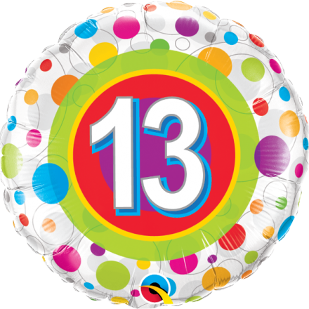#13 Colorful Dots Mylar Balloon
