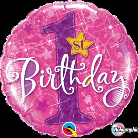 1st Birthday Stars Pink Mylar Balloon