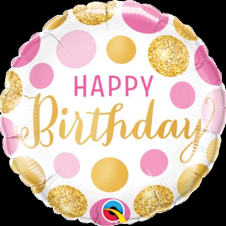49164 Birthday Pink & Gold Dots mylar balloon
