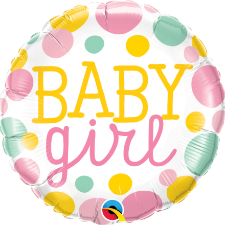 Baby Girl Dots Mylar Balloon