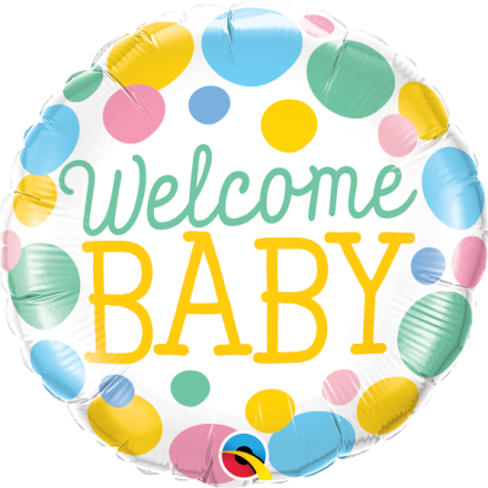 Welcome Baby Dots Mylar Balloon