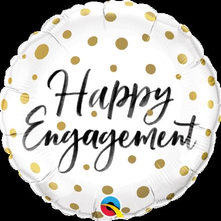 Happy Engagement Gold Dots Mylar Balloon