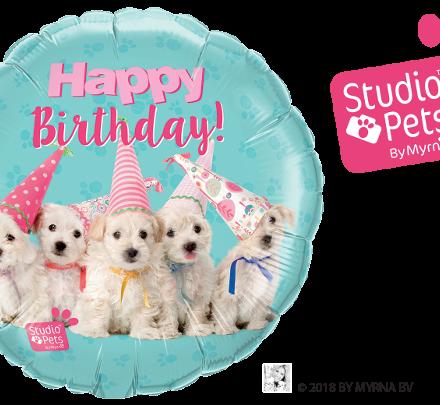 57620 Birthday Puppies mylar balloon