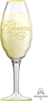 "06195 Champagne Glass 14"" x 38"" Mylar Balloon"