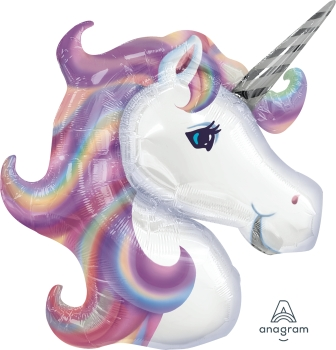 "09900 Pastel Unicorn 32"" x 29"" Mylar Balloon"