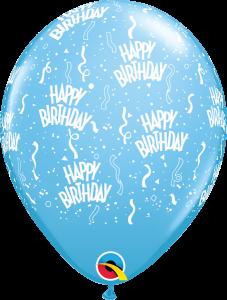 11756 Pale Blue Birthday A Round latex balloon