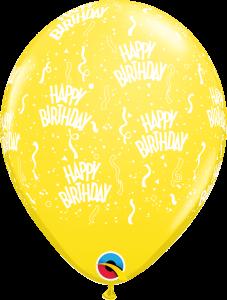 11756 Yellow Birthday A Round latex Balloon