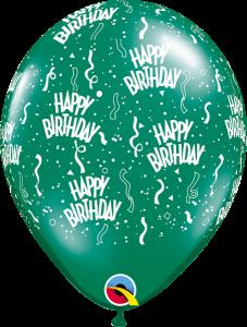 12341 Green Birthday A Round latex balloon