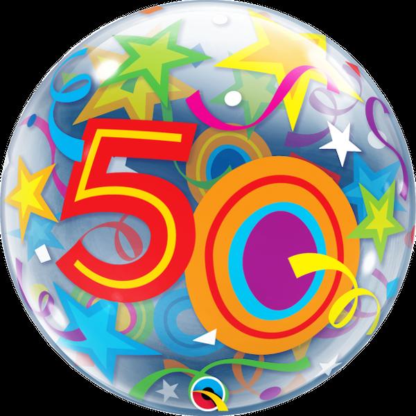 """50th Brilliant Stars 22"""" Bubble Balloon"""