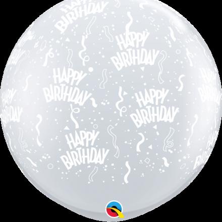 28180 Diamond Clear Birthday A Round latex balloon