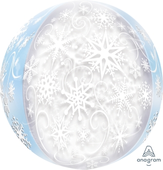 "Snow Flakes 15"" x 16"" Orbz Balloon"