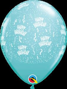 302184 Caribbean Blue Birthday A Round latex balloon
