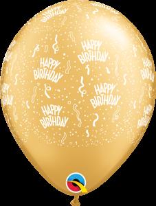 302184 Gold Birthday A Round latex balloon