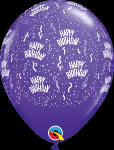 39447 Purple Birthday A Round latex balloon