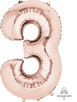 "36214 #3 Rose Gold 34"" Mylar Balloon"