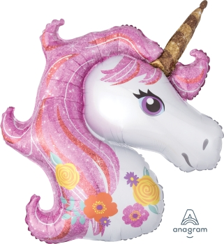 "37273 Magical Unicorn 33"" x 29 "" Mylar Balloon"