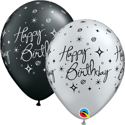 37497 Birthday Elegant Sparkles & Swirls latex balloon